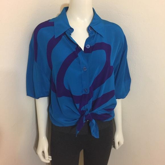 d4f6f580 Diane Von Furstenberg Tops - DVF 80s Vintage New Wave Aqua Purple Silk Shirt  L